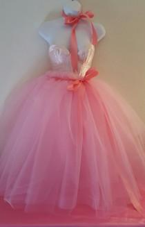 wedding photo - Pink Ribbon Satin Corset Tulle Tutu Tea Length Or Midi Ballgown Party Wedding Bridal Belly Dance Party