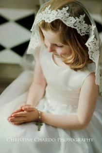 wedding photo - First Holy Communion Veil, Flower Girl Veil, Alencon Lace Mantilla Veil, Ivory Fingertip Length Veil, Girls Veil, Diamond White Bridal Veil