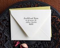 wedding photo - Self Inking stamp calligraphy handwriting custom return address.
