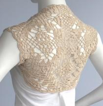 wedding photo - Golden Champagne Bamboo Bolero Eco-Friendly hand knit crochet Shrug Bridal Wedding Plus Size XL