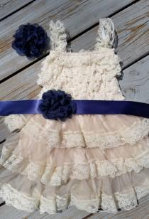 wedding photo - Navy Blue Flower Girl Lace Dress /Rustic Flower Girl Cream Dress/Wheat Cream Flower Girl-Navy Blue Wedding