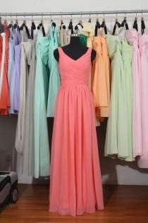 wedding photo - Coral Floor Length Bridesmaid Dress, A-line Chiffon Bridesmaid Dress