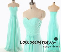 wedding photo - On Sale Mint green Bridesmaid Dress, cheap bridesmaid dresses,long prom dress, Mint green long  Bridesmaid dresses with Sweetheart Neckline