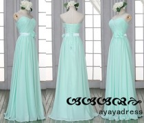 wedding photo - New Arrival Mint green long Bridesmaid Dress,Prom Dress,Chiffon Bridesmaid Dress,Custom Color Size Elegant Formal Strapless Sweetheart