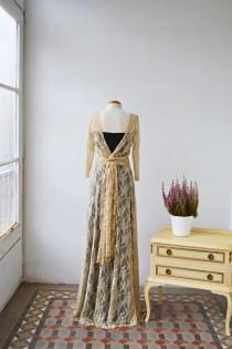 wedding photo - Backless lace prom dress, long sleeve bridesmaid gown, bohemian evening dress, lace dress, long sleeves lace wedding dress golden lace dress