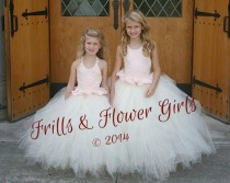 wedding photo - Blush Satin with Ivory Lace Halter Tutu Dress Flower Girl Dress Sizes 2, 3, 4, 5, 6 up to Girls Size 12