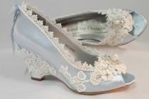 wedding photo - Light Blue Wedding Wedges, Lace Wedge, Bridal Peeptoe Wedge,  Wedding , Custom, Bespoke Wedding Shoes,Blue Bridal Shoes, Grden Wedding Shoes