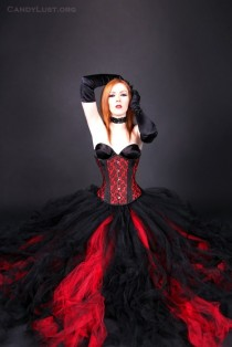 wedding photo - Gothic Red Black Bridal skirt, floor length tulle tutu skirt any size MTCoffinz