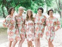 wedding photo - Pastel Mint Bridesmaid Robes Sets Kimono Crossover Robe Bridesmaids gifts Getting ready robes Bridal Party Robes Floral Robes Dressing Gown