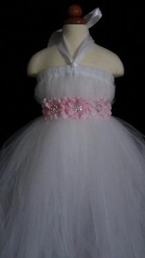 wedding photo - Flower Girl Tutu  Dress with Flower sash