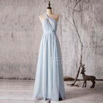 wedding photo - 2015 Light Blue Bridesmaid dress Long, One Shoulder Wedding dress, Hollow neck Evening dress, Asymmetric Prom dress floor length (Z047)