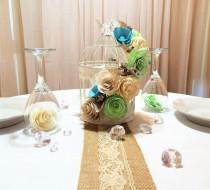 wedding photo -  Floral birdcage, Birdcage wedding centerpieces, Mint green paper flower birdcage decor, Champagne Reception table decor, Bridal shower decor