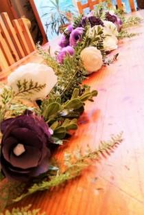 wedding photo -  Table runner, Paper flower arch, Lavender floral arch, Floral valance, Floral garland, Artificial flower arch