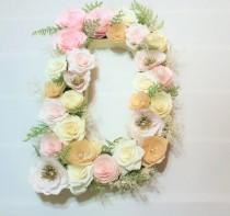 wedding photo -  Floral letter decor, Paper flower Letter, Blush, gold and ivory floral letter, Baby shower floral letter, Nursery decor, Kids's room decor