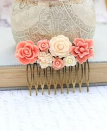 wedding photo - Bridal Hair Comb Peach Coral Rose Hair Comb Ivory Cream Floral Collage Country Chic Hair Accessories Brass Metal Comb Flowers for Hair