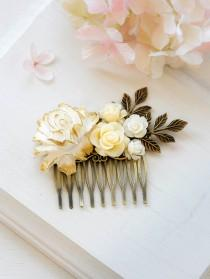 wedding photo - White Ivory Gold Rose Bridal Hair Comb Floral Flower Leaf Collage Comb Ivory Wedding Hair Accessory Vintage Country Cottage Wedding Comb