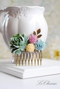 wedding photo - Sage Green Peony Powder Blue Rose Ivory Lilac Flowers Hair Comb, Wedding Bridal Hair Comb, Bridesmaid Gift, Shabby Chic Country Wedding