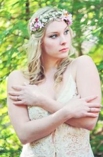 wedding photo - bridal flower crown, spring flower head piece, wedding hair