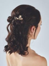 wedding photo - Rose Gold Leaf Headpiece