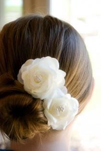 wedding photo - Wedding Hair Flowers Bridal hair piece Ivory flower hair pins includes 2 hair pins- CLIPS
