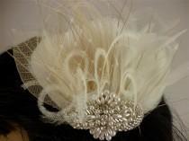 wedding photo - Rhinestone, Pearl, Silver Beaded Bridal Ivory Feather Fascinator, Rhinestone Hair Clip, Bridal Fascinator, Fascinator