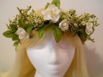 wedding photo - Flower Crown, Head Wreath, Winter White Weddings White Rose Baby's Breath Green Flower Girl Bride Bridal, Woodland, Fairy, Mori Girl Elf