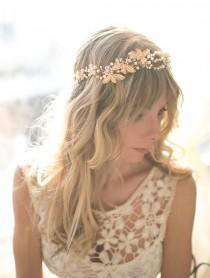 wedding photo - Gold Boho Bridal Flower Leaf Crown, Hair Halo, Hair Vine, Hair Wreath, Gold Wedding Pearl Hair Vine, Boho Wedding Headpiece - 'CHANTILY'