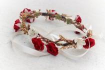 wedding photo - gold bridal accessories, Flower for hair, Bridal hair crown for Wedding, flower hair wreath, bridal hair flower