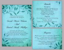 wedding photo - DIY Rustic Wedding Invitation Template Set Editable Word File Download Printable Invites Turquoise Blue Invitation Leaf Wedding Invitation