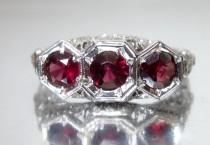 wedding photo - Antique Art Deco Triple Natural Garnet White Gold Engagement Ring 18K