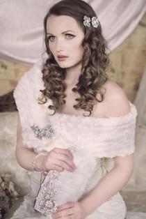 wedding photo - ROSETTE WRAP Cream Faux Fur and Rhinestone Brooch Wrap Stole