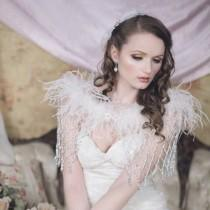 wedding photo - SWAN PRINCESS Beaded and Feather Shrug