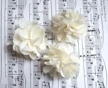 wedding photo - NEW ITEM 3 Chiffon Wedding Hair Flowers / ivory chiffon wedding hair piece chiffon flower bridesmaids flower