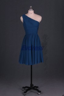 wedding photo - Short chiffon bridesmaid dresses 2015 affordable one shoulder bridesmaid gowns under 100 cheap wedding dresses for party homecoming gowns