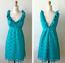 wedding photo - Teal Turquoise Lace Cocktail Dress, bridesmaid
