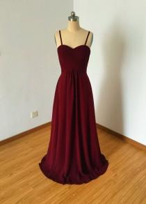 wedding photo - Spaghetti Straps Sweetheart Burgundy Chiffon Long Bridesmaid Dress