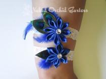 wedding photo - Royal Blue Wedding Garter Set, Something Blue Garter, Peacock Garters, Blue Prom Garters, White Lace Garters, Blue Beach Bridal Garter