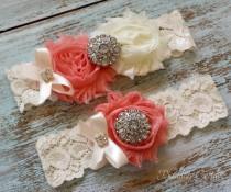wedding photo - Coral Wedding Garter, Wedding Garter Set, Bridal Garter, Lace Garter, Custom Garter, Toss Garter Included