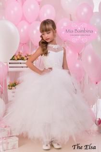 wedding photo - White Flower Girl Dress and  First Communion Dress