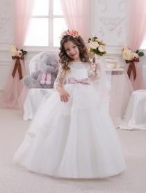 wedding photo - vory White Flower Girl Dress - Wedding Holiday Party Bridesmaid Birthday Flower Girl White Ivory Tulle Lace Dress