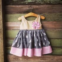 wedding photo - Deer Dress, First Birthday Dress, Gray and Pink, Girls Easter Dress, Birthday outfit, Deer Head Dress, photoshoot dress, pink gingham