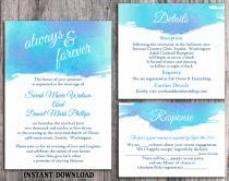 wedding photo - DIY Watercolor Wedding Invitation Template Set Editable Word File Download Printable Invitation Blue Invitation Purple Watercolor Invitation