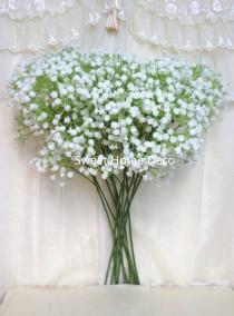 wedding photo - JennysFlowerShop 22'' Soft White Real Touch Realistic Baby's Breath/Gypsophila Artificial Single Spray