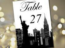 """wedding photo - Travel Theme Wedding Table Number Template """"New York Silhouette"""" Table Card Instant Download - DIY Wedding Table Number Wedding Reception"""