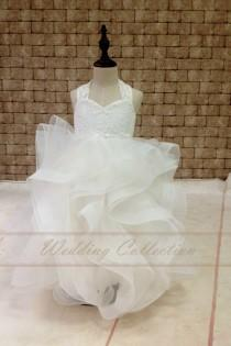 wedding photo - Flower Girl Dress Lace With Horse Hair Cross Back Tulle Ball Gown Floor Length