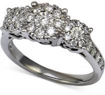 wedding photo - Diamond Three Stone Engagement Ring (3/4 ct. t.w.) in 14k White Gold