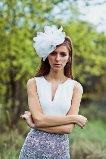 wedding photo - Bridal organza flower headband - Bridal veil - Bridal headpiece - Style 032
