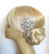 wedding photo - Bridal Veil and Bridal Comb, Bridal Hair Comb,Rhinestone Bridal Hair Comb, Weddings, Silver, Rinestone