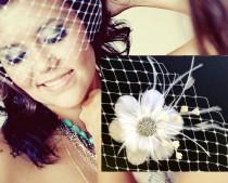 wedding photo - Wedding Hair Accessories, Fascinator Veil Bridal Set, Feather Flower Headpiece, Wide Net Birdcage Veil, NIRVANI VISTA (2 items)