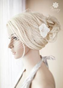 wedding photo - Ivory Birdcage Veil Bridal Blusher Bandeau French Netting with delicate flowers and golden or silver  rhinestones